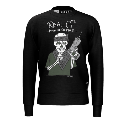 Real G's Move In Silence, Crewneck Sweatshirt, Black