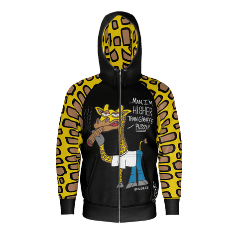 Higher Than Giraffe, Black Zip-Up Hoodie with Giraffe Print Sleeve and Hood Lining