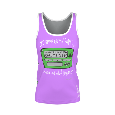Old School Pager, Ladies Tank Top, Light Plum Purple 🍇