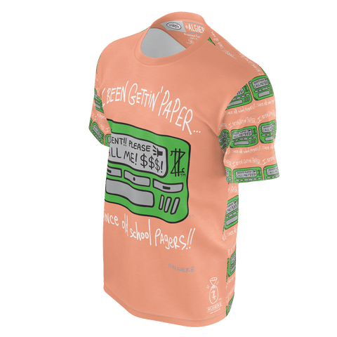 Old School Pager T-shirt, Sleeve Remix, Peach