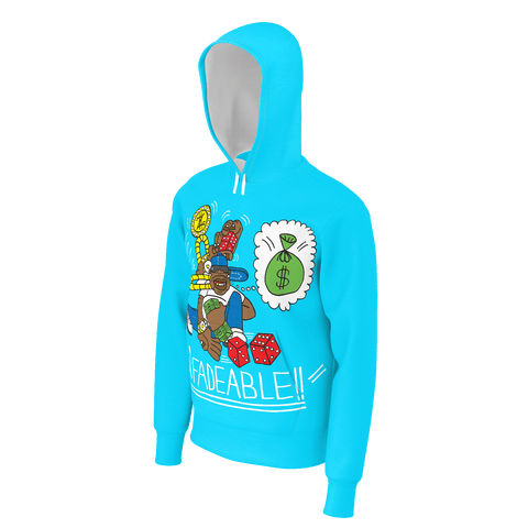 Unfadeable, French Terry Pull-Over Hoodie Sweatshirt, Sky Blue