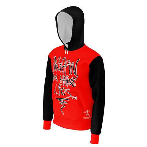 Dripping In Haters Lies, French Terry Pull-Over Hoodie, Red and Black w/White Remix
