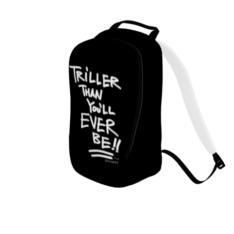 Triller Than You'll Ever Be, Laptop Backpack, Black with White