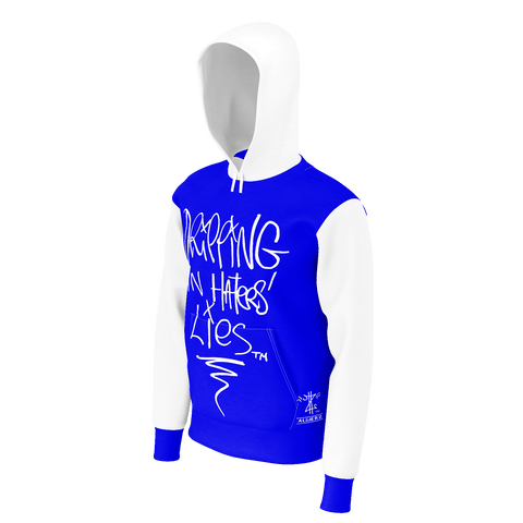 Dripping In Haters Lies, Pull-Over Hoodie, Royal Blue w/White
