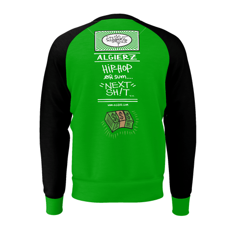 Cash On Delivery, Longsleeve Raglan, Green with Black