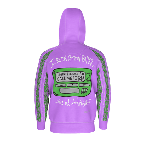 Old School Pager, Zip-Up Hoodie, Light Plum Purple 🍇