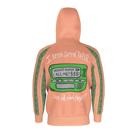 Old School Pager, Zip-Up Hoody, Peach