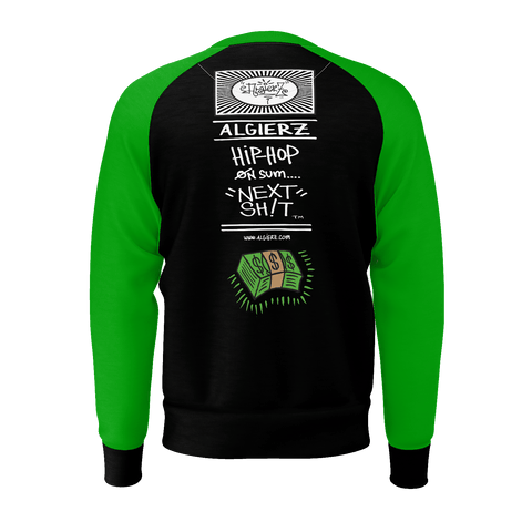 Cash On Delivery, Longsleeve Raglan, Black With Green