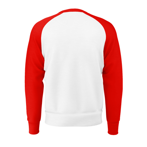 Trust No One, Long Sleeve Raglan, White With Red