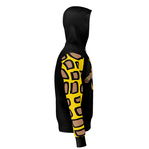Higher Than Giraffe, Pull-Over Hoodie Black with Giraffe Print Sleeve
