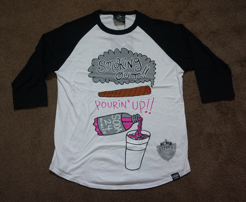 Smoking Out, Pouring Up!  (black/white) Raglan (Pimp C)