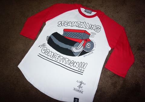 Steamrolling The Competition (red/white) Long Sleeve Raglan
