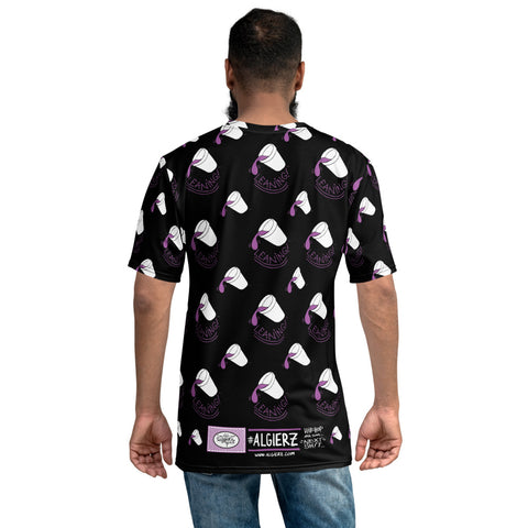 Leaning Foam Drank Cups - Repeating Design - T-Shirt (Black) REMIX