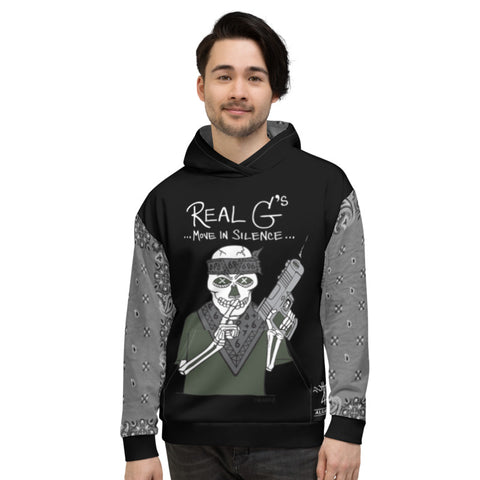 Real G's Move In Silence, French Terry, Black Pull-Over Hoodie