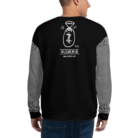 Real G's Move In Silence, Crewneck Sweatshirt with Bandana Sleeves, Black REMIX