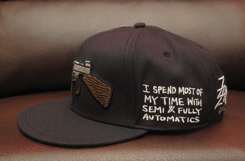 "Tommy Gun Black Snapback with ""I'm A Gangsta Never Been a Romantic"" Embroidery"