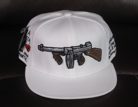 Tommy Gun White Snapback with I'm A Gangsta Side Embroidery