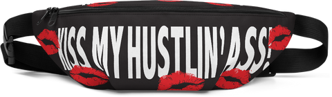 Kiss My Hustlin Ass, Fanny Pack, Black