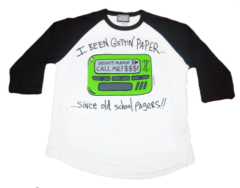 Old School Pager (white/black) Raglan