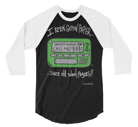 Old School Pager (black with white sleeves) Raglan
