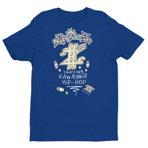 Serving Raw & Uncut Hip-Hop (blue) T-Shirt