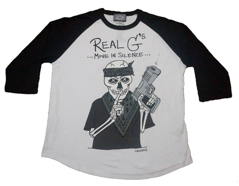 Real G's Move In Silence (black/white) Raglan