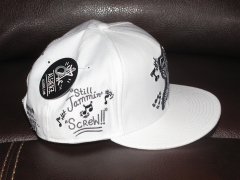 Still Jammin Screw - Snapback Hat - White