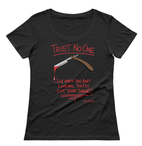 Trust No One (Black) Ladies V-Neck