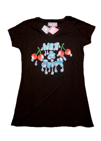 Wet & Juicy (black) Ladies V-Neck
