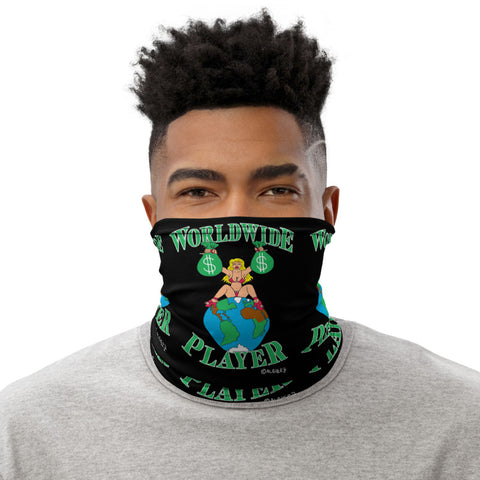 Worldwide Player Repeating Design Black Neck Gaiter Mask