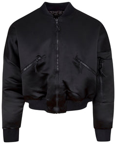 REVERSIBLE SATIN BOMBER JACKET BLACK