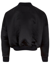 Load image into Gallery viewer, REVERSIBLE SATIN BOMBER JACKET BLACK