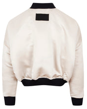 Load image into Gallery viewer, REVERSIBLE SATIN BOMBER JACKET CREAM
