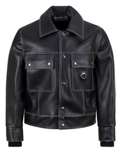 Load image into Gallery viewer, LEATHERETTE TRUCKER JACKET BLACK