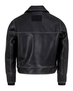 LEATHERETTE TRUCKER JACKET BLACK