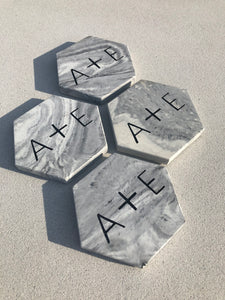 Personalized Monogrammed Hexagon Coasters