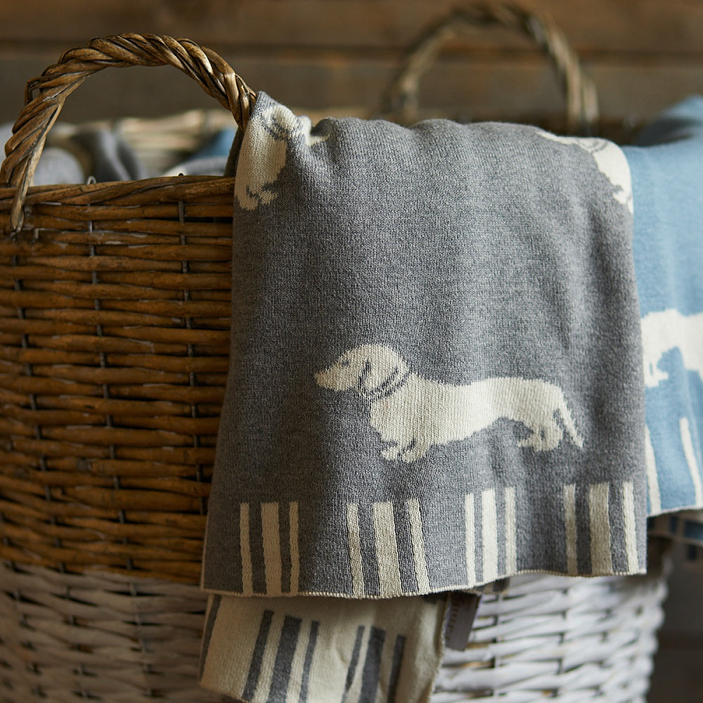 Grey Dachshund Throw