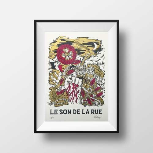 "Silk screen print ""Le Son de la Rue"" by Virassamy."