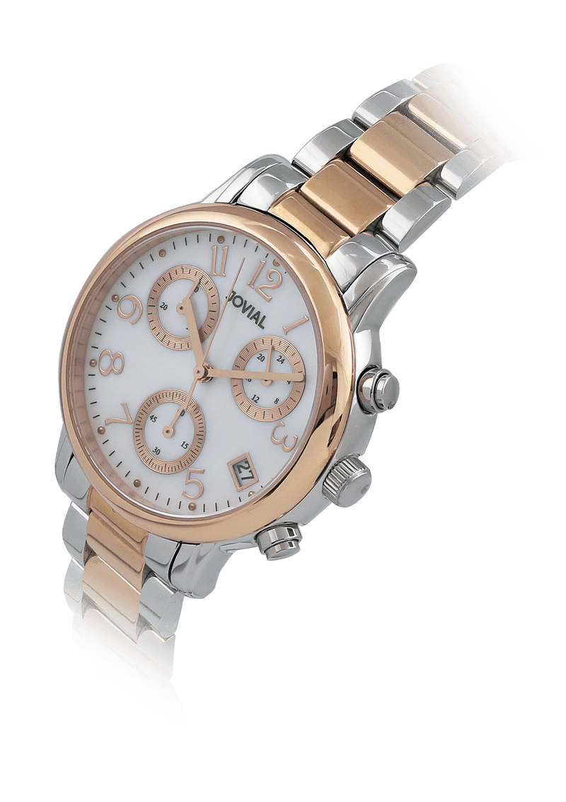 Automatic JOVIAL Watch 1086LAMC01 Ladies Two tone Rose Gold (White)36mm Metal
