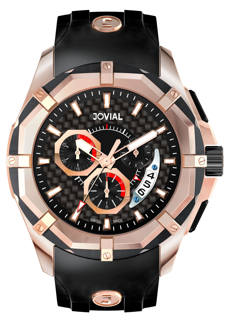 Chrono JOVIAL Watch 12004GRLQ13 Gents Rose Gold (Black) 46mm Rubber