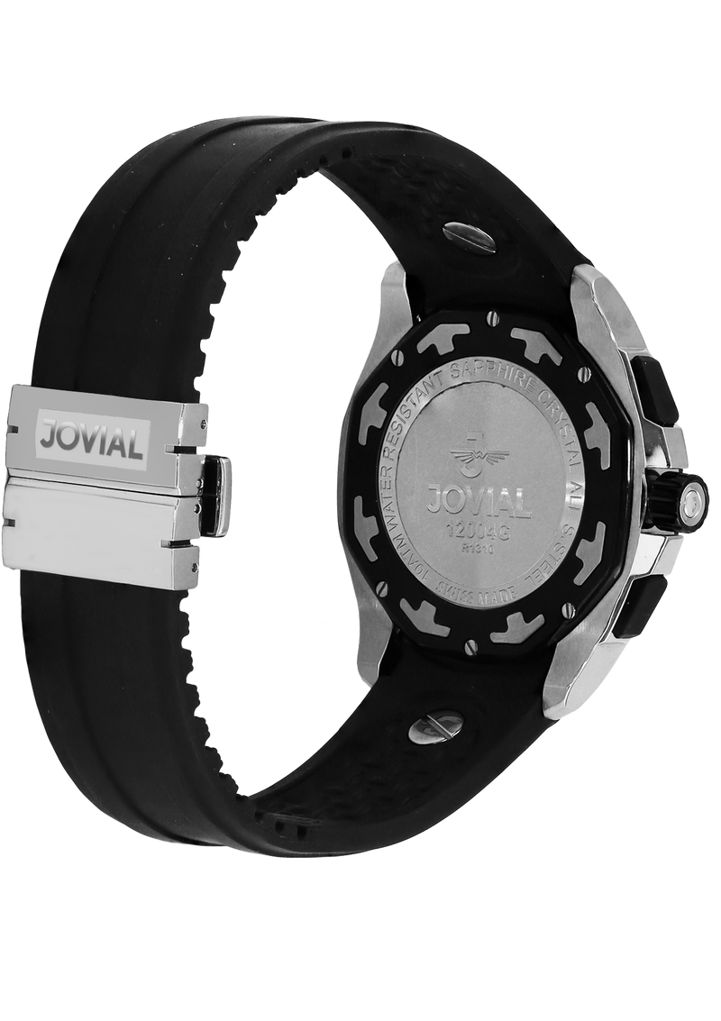 Chrono JOVIAL Watch 12004GRLQ13 Gents Silver (Black) 46mm Rubber