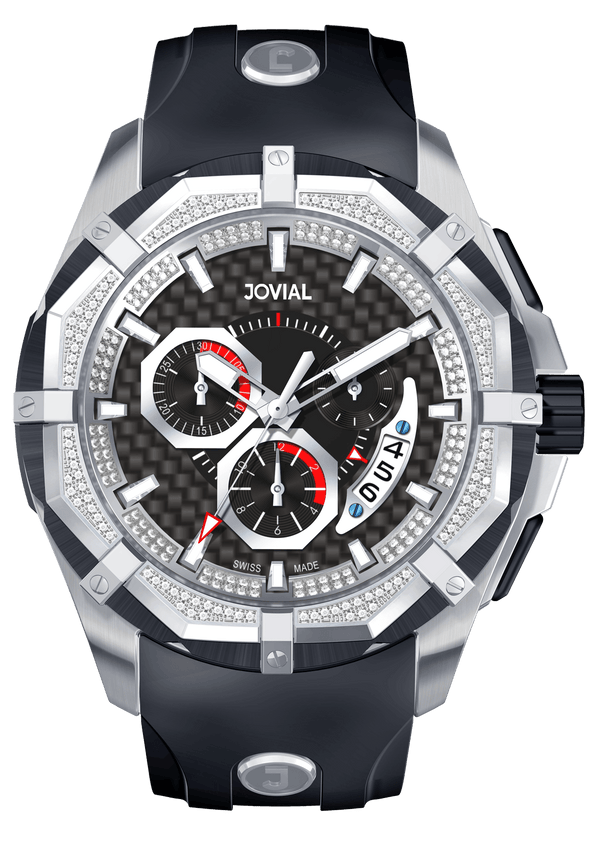 Chrono JOVIAL Watch 12006GSRC13D Gents Silver (Black) 46mm Rubber