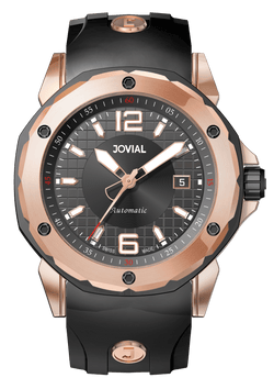An Automatic JOVIAL Watch 12061GRRA13 Ladies Rose Gold (Black) 46mm Rubber