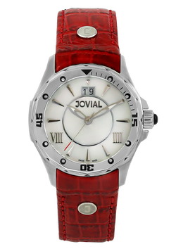 Classic JOVIAL Watch 12039 LSLQ 91 Ladies Silver (White) 46mm Genuine Leather