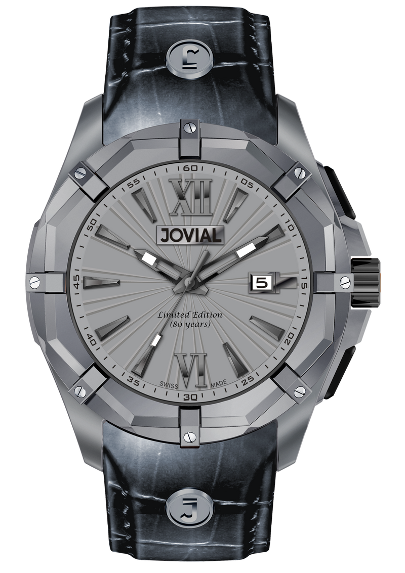 Chrono JOVIAL Watch 12016 GILQ 60 Gents Titanium (Grey) 46mm Rubber