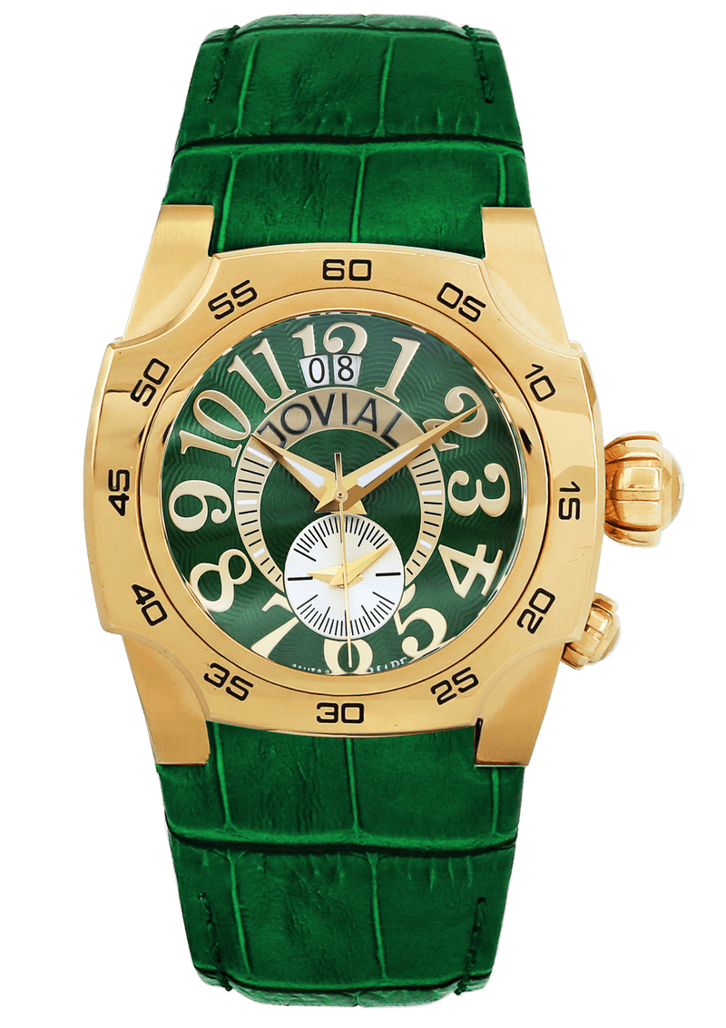 Classic JOVIAL Watch 7215GSLQ96 Gents Gold (Green) 42mm Genuine leather