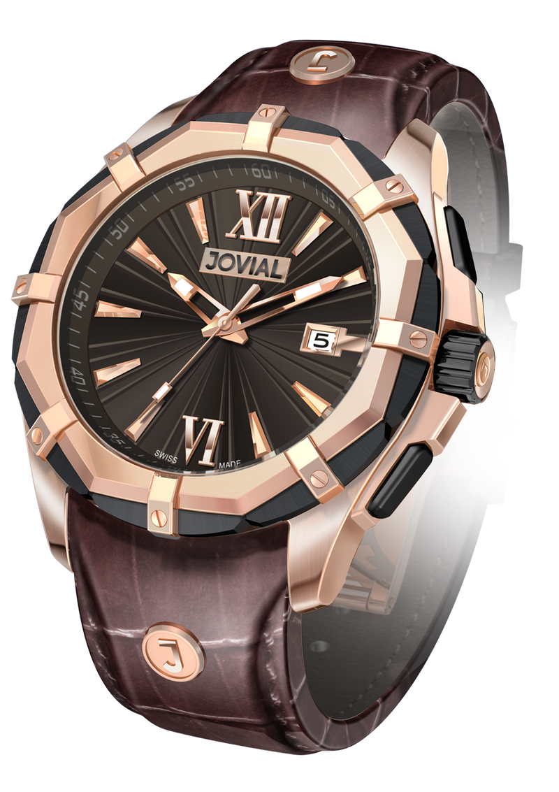 Classic JOVIAL Watch 12018 GRLQ 33 Gents Rose Gold (Brown) 46mm Genuine Leather