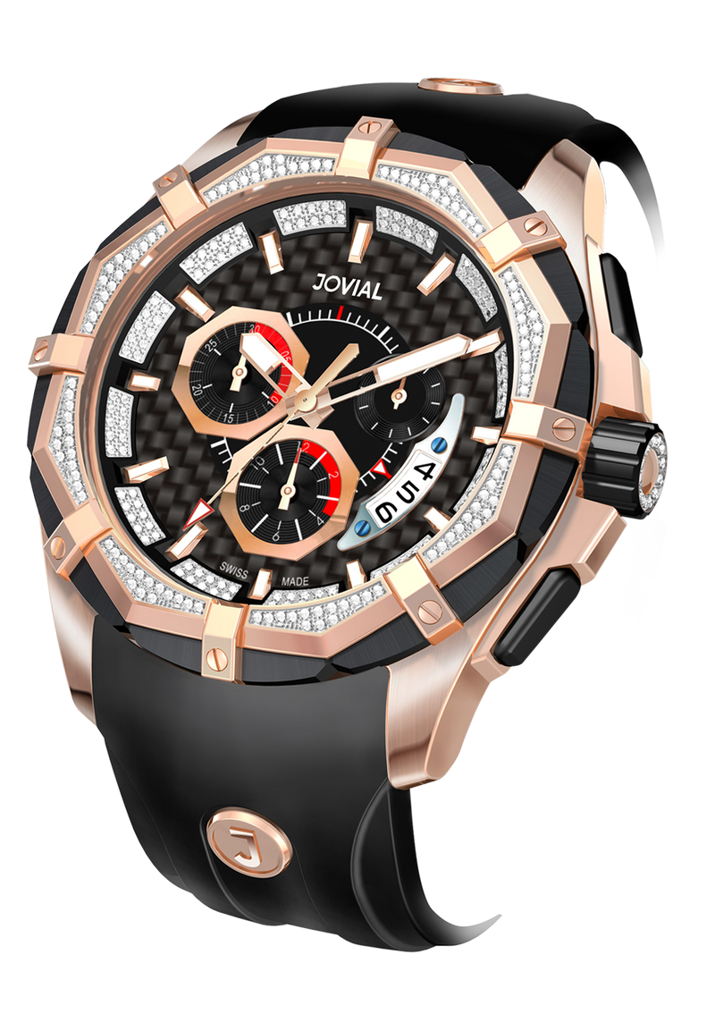 Chrono JOVIAL Watch 12005GRRC13D Gents Rose Gold (Black) 46mm Rubber