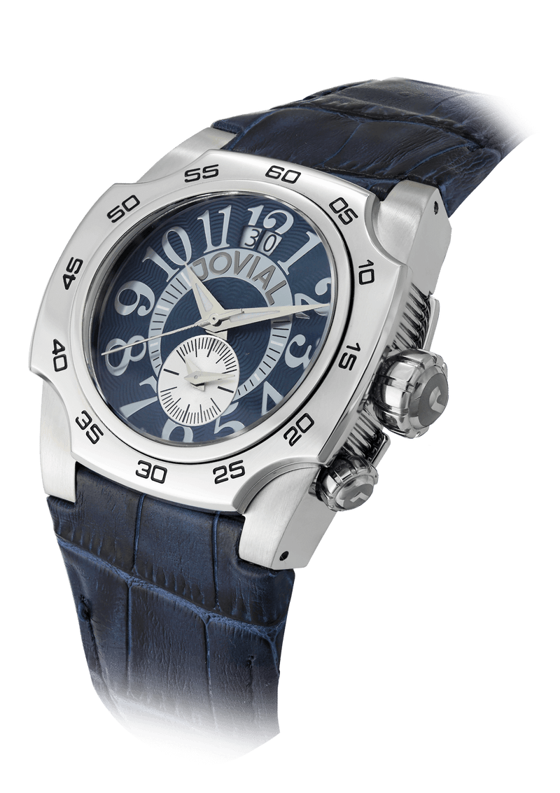 Classic JOVIAL Watch 7212GSLQ54 Gents Silver (Blue) 42mm Genuine leather