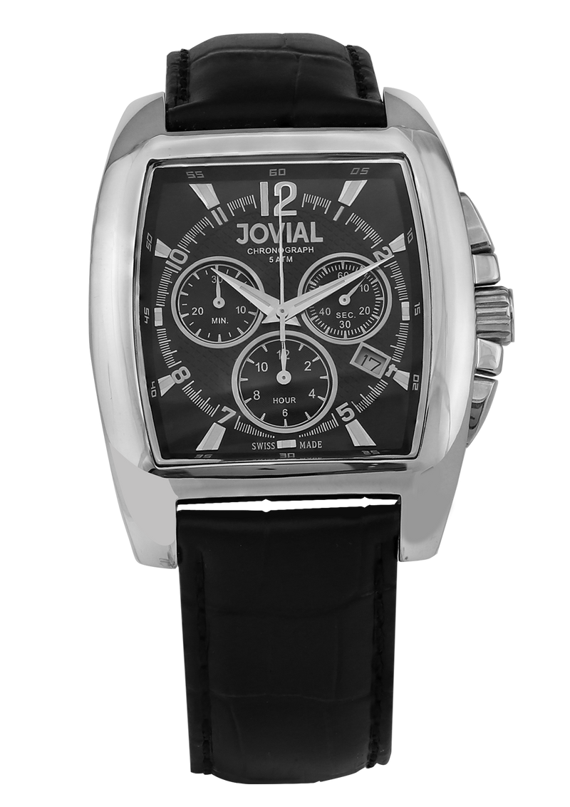 A chronograph JOVIAL watch 4567GSLC13 Gents Silver (Black) 42mm Genuine Leather